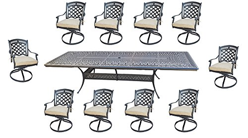 11 Piece Outdoor Dining Set Patio Furniture Cast Aluminum with Elisabeth 48 x132 Extension Table.