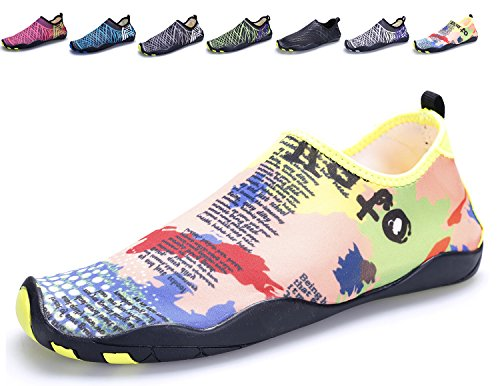 Kitleler Water Shoes For Men Women House Slippers Barefoot Quick-Dry Aqua With Drainage Hole For Yoga Swimming Orange FsCa7