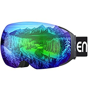 Enkeeo Ski Goggles Detachable Dual Layer Anti-Fog Lens 100% UV400 Protection, Bendable Frame, Anti-slip Strap with Comfort, Wind Resistant 3 Layers Foam for Adult Snowboarding Skating, Magnet Green