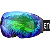 Enkeeo Ski Goggles with Detachable Dual Layer Anti-Fog Magnet Lens (Green, Yellow, Red, or Blue)