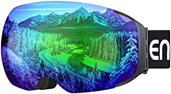 Enkeeo Ski Goggles with Dual Layer Anti-Fog Magnet Lens