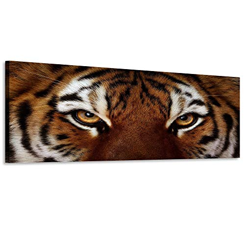 Natural art Ferocity Tiger with Eye Staring Wall Art Painting Pictures Prints On Canvas for Home Wall Decoration 20x48in ()