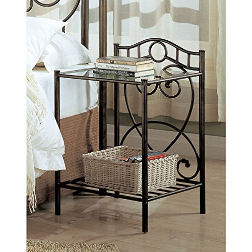 Antique Bronze Metal 2-shelf Nightstand by Coaster Home Furnishings