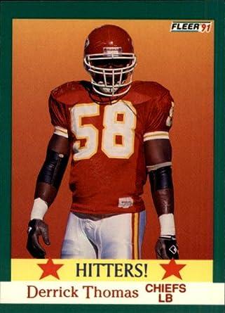 the latest bc54b 9de20 Amazon.com: 1991 Fleer Football Card #400 Derrick Thomas ...
