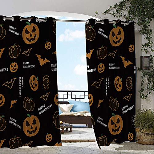 Linhomedecor Balcony Waterproof Curtains Halloween Scary Pumpk Bat Porch Grommet Party Curtains 72 by 96 inch