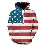 Mens Ameraican Flag Printed Big Pockets Drawstring Hoodie Sweatshirt