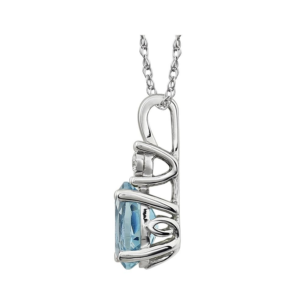 Jewels By Lux 14k White Gold with Diamond Sky Blue Topaz /& .02 CTW 18 Necklace
