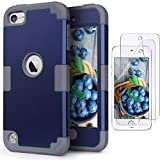 iPod Touch 7 Case with 2 Screen Protectors, iPod 6 Case, IDweel 3 in 1 Hard PC Case + Silicone Shockproof for Kids Heavy Duty Hard Case Cover for 2019 iPod Touch 7th/6th/5th Gen, Navy Blue + Gray