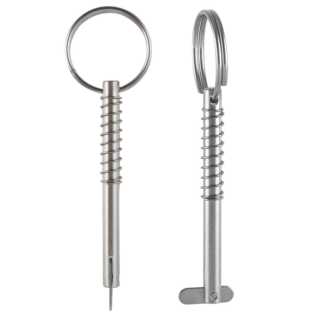 Diameter 1//4 Effective Length 2.4 2 Pack Quick Release Pin w//Drop Cam /& Spring Full 316 Stainless Steel 61mm 76mm Bimini Top Pin Total Length 3 Marine Hardware 6.3mm