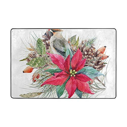 S Husky Welcome Door Mat Bird Flower Hand Painted Blooming Red Pine Cone Gorgeous Colorful Rug for Kitchen Bathroom Outdoor Porch Laundry Living Room Washable Carpet 36 x 24 in 2040812