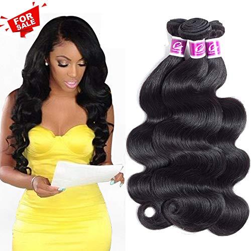 azilian Virgin Hair Body Wave Remy Human Hair 3 Bundles 100% Unprocessed Human Hair Extensions Brazilian Hair Weave Bundles Natural Black Color Body Wave 14 16 18Inch ()