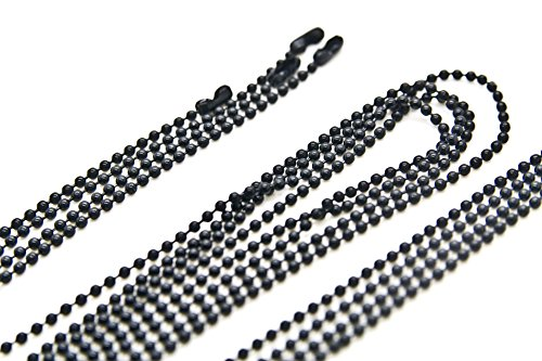 24 inch Military Spec Black Epoxy Coated 2.4mm Ball Chain Necklaces - pack of 25 pcs