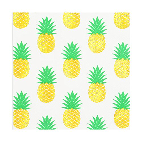 80count Party Napkins, Beverage &Cocktail Napkins,Bulk,3-Ply, Pack of 80(4 Packs of 20 Napkins),Decorative Paper Napkins 5x5 inch,Birthday,Spring,Summer,Beach,Gold Pineapple