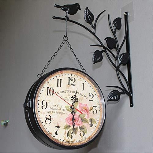 - Wall Clock European Pastoral Bird Wall Clock Retro Rose Wrought Iron Double-Sided Wall Clock Living Room Wall Clock 9 inches, Black