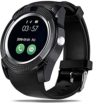 Lens V8 Bluetooth Smartwatch With Sim & Tf Card Support With Apps Like  Facebook And Whatsapp Touch Screen Multi Language Android/Ios Phone