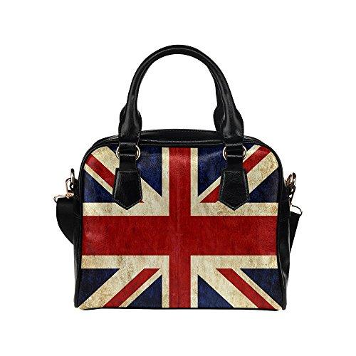 (InterestPrint Grungy Flag of Great Britain Union Jack PU Leather Shoulder Handbag Bag for Women Girls with Extender Strap )