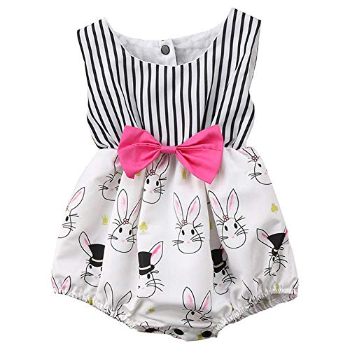 Fairy Baby Summer Baby Girl Easter Outfit Gift Bunny Costume Sleeveless Striped Romper Bodysuit Size 18-24M (White)