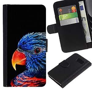 iBinBang / Flip Funda de Cuero Case Cover - Azul Songbird Negro Naturaleza - Samsung Galaxy S6 SM-G920