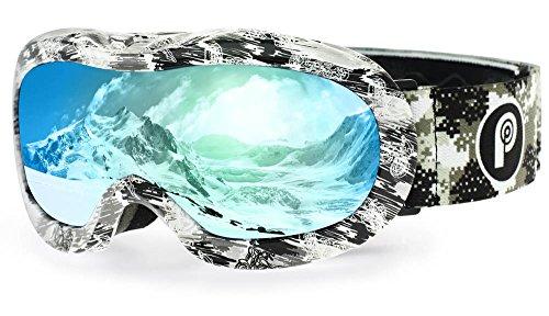 picador Kids Ski Goggles Excellent Impact Resistance Anti-Fog Lens 100% UV Protection Boys & Girls (Gray)