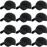 KBETHOS Classic Cotton Dad Hat Adjustable Plain Cap. Polo Style Low Profile (Unconstructed) (Adjustable, (Multi Pack - Black) 12 Pieces)
