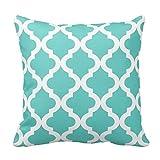 Generic Custom Square Light Aqua Moroccan Quatrefoil Print Throw Pillow Cover Cotton Pillowcase Cushion Cover 20 X 20