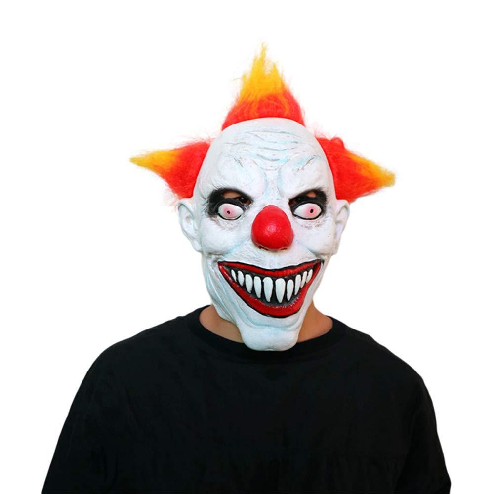 TRUBUY Joker Clown Masque Creepy Horreur Halloween Masque De Clown Mal Effrayant Adult Fant/ôme Festif F/ête Costume Props
