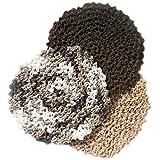 3 Brown Tones Handmade Round Durable Cotton Dishcloth Set