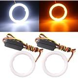 Qasim 1-Pair 60MM White+Amber Switchback 72SMD 4014 LED Halo Ring Angel Eyes Led Lights 12V