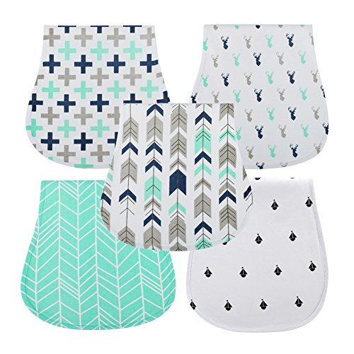CLCROBD Baby Burping Cloths Boys Girls 5pcs, Triple Layer, 100% Organic Cotton, Soft and Absorbent Towels, Burp Rags by CLCROBD