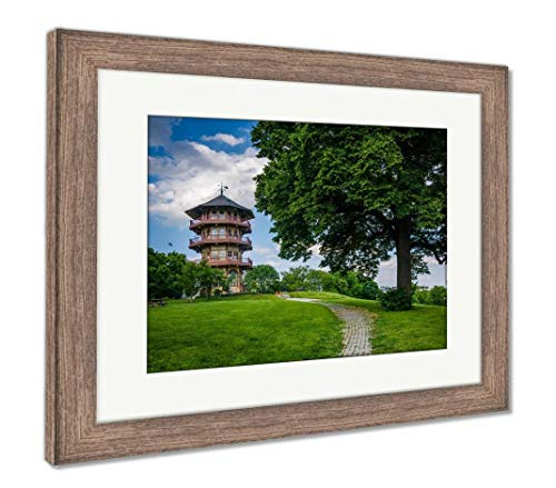 Ashley Framed Prints The Pagoda and A Tree at Patterson Park in Baltimore Maryland, Wall Art Home Decoration, Color, 26x30 (Frame Size), Rustic Barn Wood Frame, AG5646244
