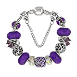 KEORMA Ribbon Strand Bracelet Silver Plated Snake Chain DIY Carved Beads Charms Bracelet Women Girls Purple