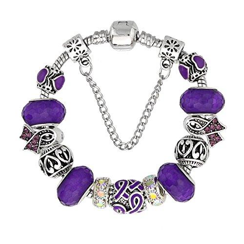 KEORMA Ribbon Strand Bracelet Silver Plated Snake Chain DIY Carved Beads Charms Bracelet Women Girls Purple 7.9