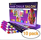 Girls Gifts Hair Chalk Salon for Boys & Girls – 10 Temporary Non-Toxic Easy Washable Hair Dye Colourful, Metallic, Glitter Pens – Great Games Birthday Present Toy for Men Women Kids Age 3 4 5 6 7 8 9 10 Year Old