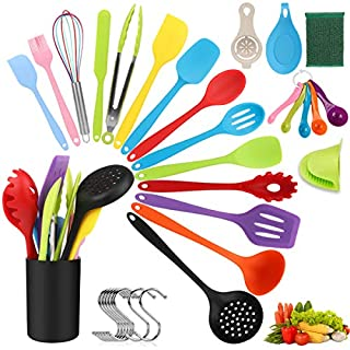Silicone Kitchen Utensil Set, 34pcs Colorful Cooking Utensils with Holder, Heat Resistant Non-Stick Kitchen Gadgets Cookware Set - Turner, Whisk, Spoon, Brush, spatula, Pasta Fork