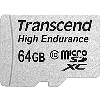 Transcend Information 64GB High Endurance microSD Card with Adapter (TS64GUSDXC10V)