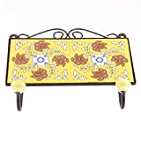 IndianShelf 3 Piece Handmade Artistic Heavy Duty Ceramic Yellow Brown Flower Tiles Coats Rail Wall Hooks Hats Racks Keys Clothes Towels with Screws