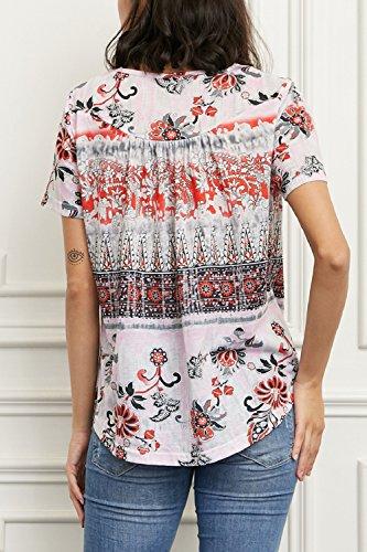 Tunic Camiseta Yacun Mujer Manga De Camisa Casual Floral nzv04q