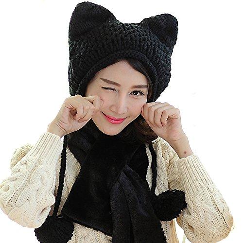 BIBITIME Women's Hat Cat Ear Crochet Braided Knit Caps Warm Snowboarding Winter (One size, Black) (Black Tassle Knit Hat)