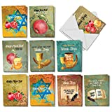Shana Tova Greetings - 20 Assorted Boxed Rosh Hashanah Note Cards with Envelopes (4 x 5.12 Inch) - Featuring Hebrew Text and Religious Jewish Imagery for the New Year AM6135RHG-B2x10