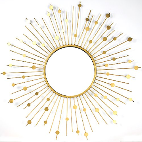 "American Art Decor Gold Metal Sunburst Starburst Wall Vanity Mirror Farmhouse Decor (33.5"" H x 33.5"" L x 1.25"" (Gold Starburst)"