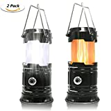 2 Pack Portable LED Camping Lantern, HLZHOU [2018 UPGRADED][3-IN-1] Decorative Flame light Ultra Bright Flashlights Collapsible Survival Kit for Emergence, Outdoor Indoor Black (Batteries Not Included)