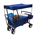 High-End New 4th Generation Outdoor Utility Collapsible Folding Wagon with Canopy and Safety Seat Belt, Auto Locks, Spring Bounce, Brake, Stand, EVA Wide Tire (Blue)