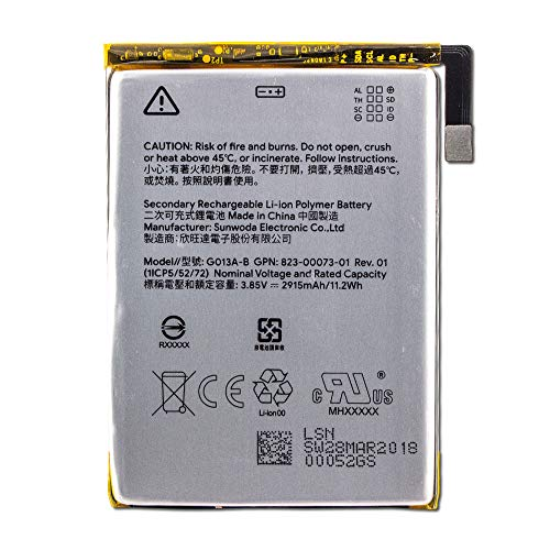 "Group Vertical Replacement Lithium-ion Battery Compatible with Google Pixel 3 (G013A) (5.5"") (2018)"