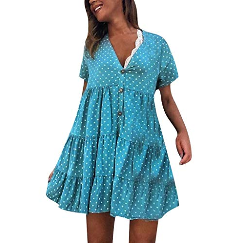 Stunning Jacquard Strapless Corset - terbklf Polka Dot Dress for Women Vintage Button Down Dresses for Women Casual Summer Ladies Pleated Beach Mini Dress Blue