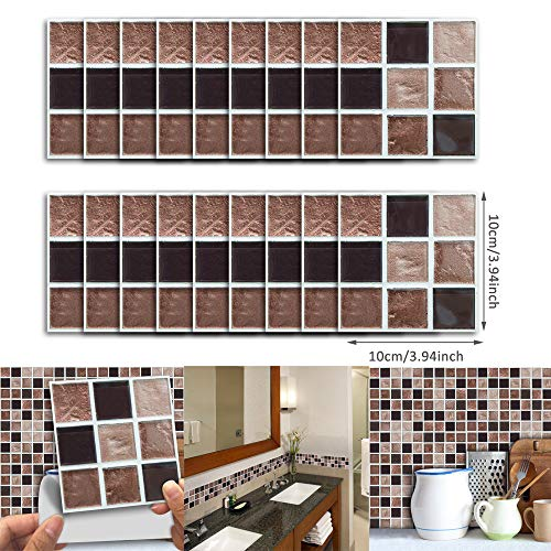 Jarompower 18pcs Marble Mosaic Wall Art Kitchen Tile Sticker,DIY Bathroom Bedroom Home Decor Wall Decoration, Modern Style Self-Adhesive Peel Frosted Waterproof Wall Paper.