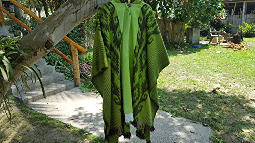 Alpaca Poncho Hooded Closed Green w/stripes, Made in (Stripe Alpaca Poncho)