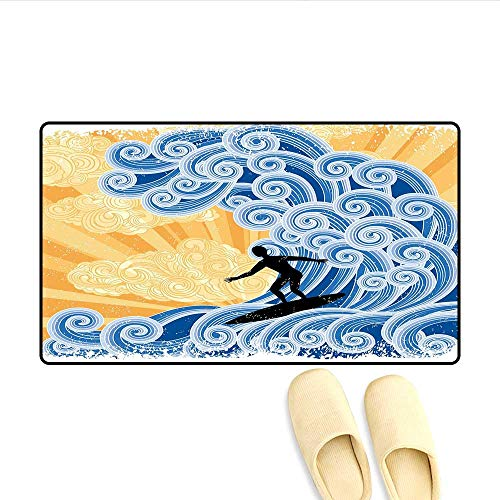 Door-mat Surfer Slides on Big Stylized Wave Curly Design Water Swirls Grunge Retro Fun Bathroom Mat for Tub Non Slip Black Blue Apricot 32