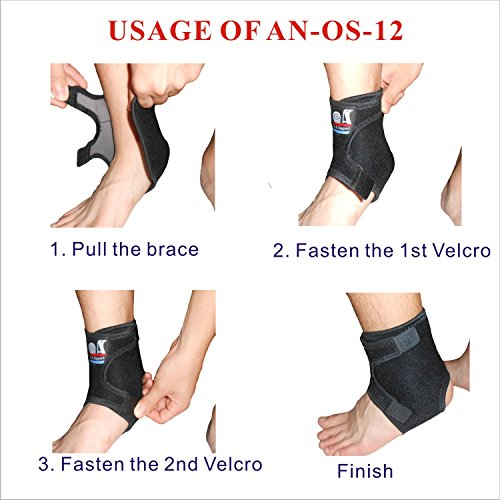 C&A Support, AN-OS-12, 3D Breathable Elastic Fabric Adjustable Ankle Wrap for Sport, Running, Basketball and Pain Relief of Sprains, Strains, Arthritis and Torn Tendons in Foot and Ankle by IRUFA
