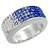 Sterling Silver Blue CZ Rainbow Ring 5/16 inch, size 9