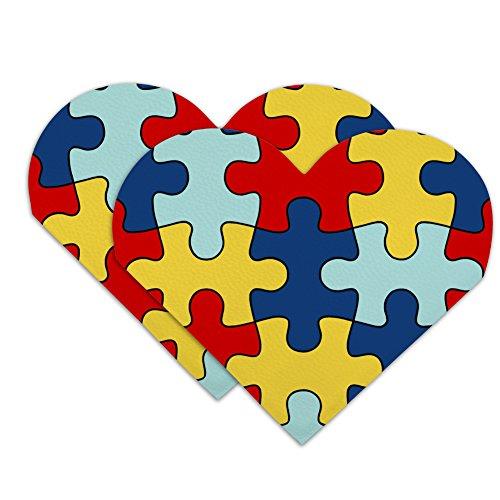 Autism Awareness Diversity Puzzle Pieces Heart Faux Leather Bookmark - Set of 2 ()